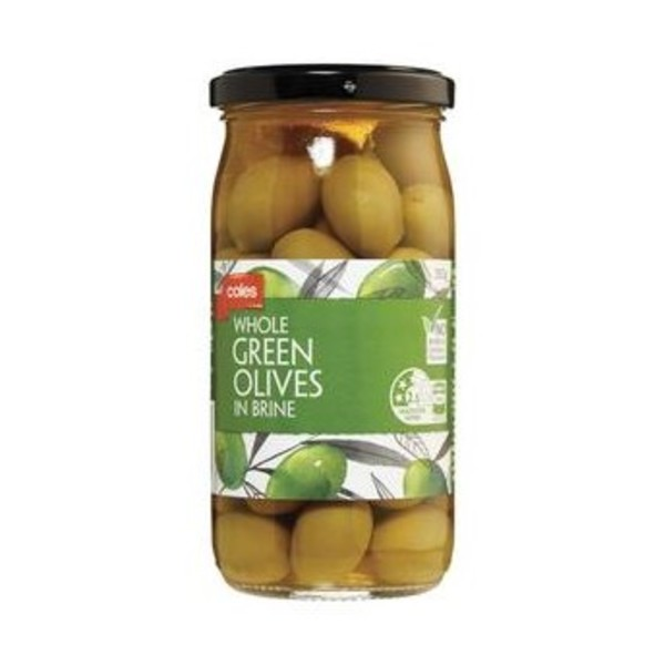 Coles Whole Green Olives in Brine 350g