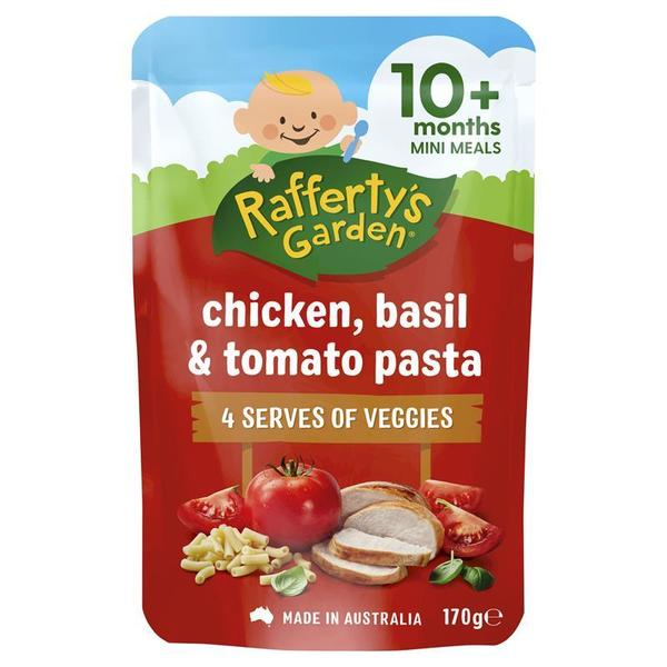 Raffertys Garden 10+ Months Chicken Basil and Tomato Pasta 170g