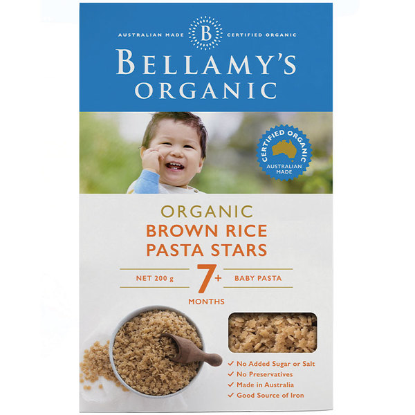 Bellamys Organic Brown Rice Pasta Stars 200g
