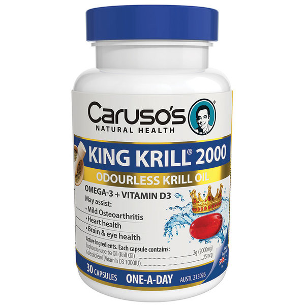 카루소스 크릴오일 2000mg + 비타민 D3 30정 Carusos Natural Health King Krill 2000mg + Vitamin D3 30 Capsules