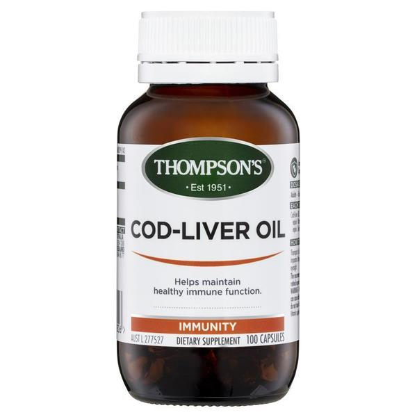 톰슨 코드 리버 오일 100 정 Thompsons Cod Liver Oil 100 Capsules