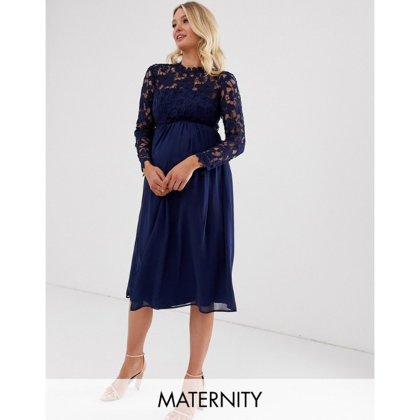 Chi Chi London Maternity crochet lace midi dress with chiffon skirt in navy PRODUCT CODE1431176