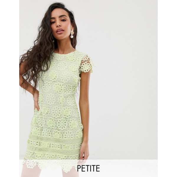 Miss Selfridge Petite lace dress with cap sleeves in green PRODUCT CODE1453376