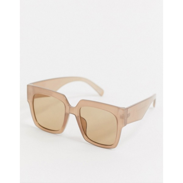 ASOS DESIGN 70s oversized chunky square sunglasses in milky brown PRODUCT CODE1638808