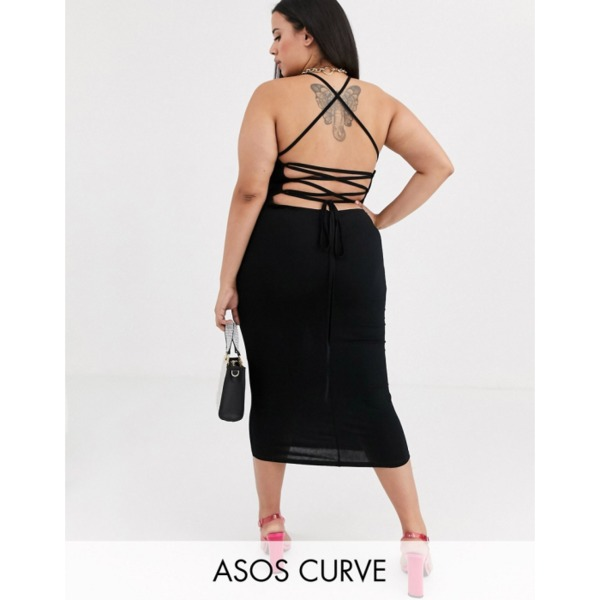 ASOS DESIGN Curve going out strappy back midi dress PRODUCT CODE1559805