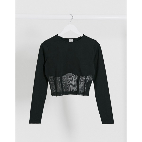 ASOS DESIGN long sleeve crop top with mesh corset detail in black PRODUCT CODE1720715