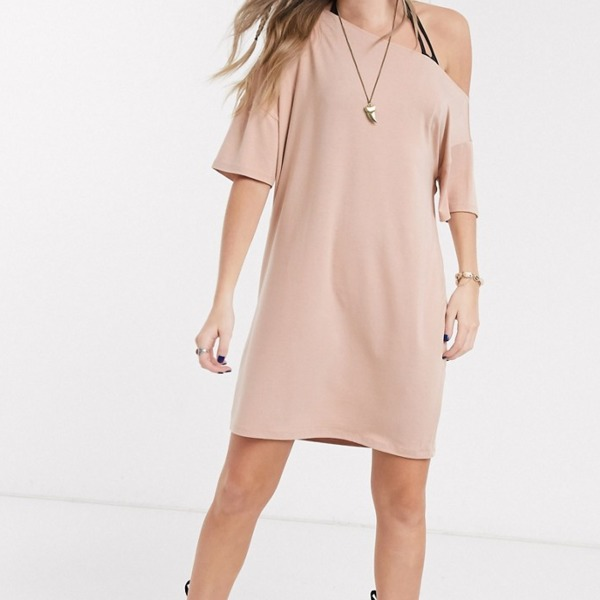 ASOS DESIGN off the shoulder t-shirt dress in beige PRODUCT CODE1616796